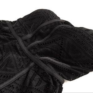 Anne Cole Swim - Anne Cole | black geo crochet peplum swim tankini